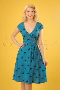 Dawn Swans Swing Dress Années 50 en Bleu