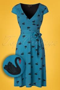 Lindy Bop Dawn Blue Swans Swing Dress 24565 20171222 0001W1