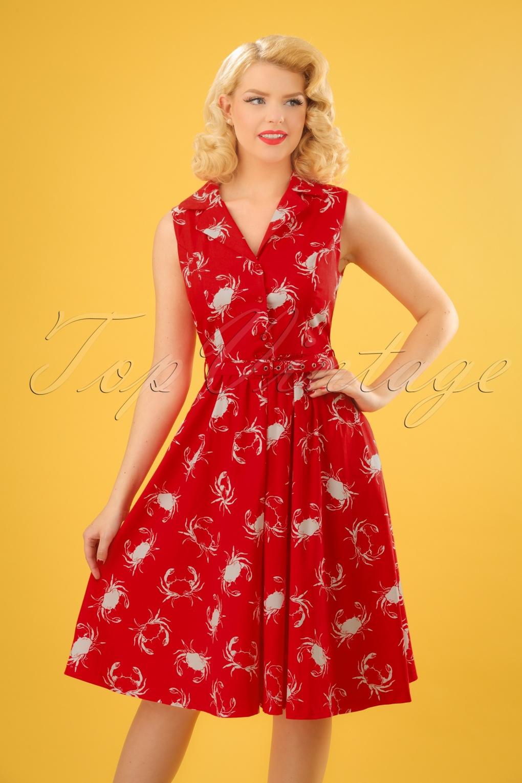 60s Plus Size Retro Dresses, Clothing, Costumes | 70s Dresses 50s Matilda Shellfish Swing Dress in Red £48.50 AT vintagedancer.com