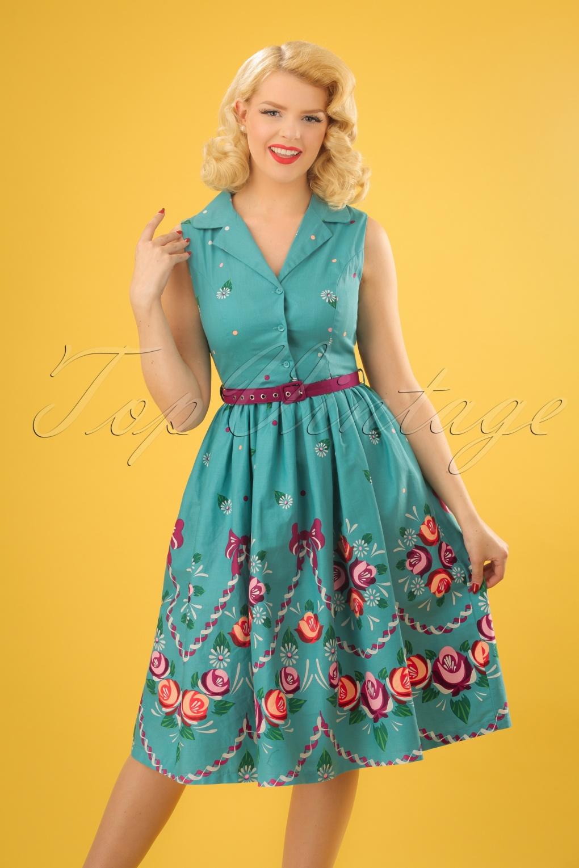 Vintage Tea Dresses, Floral Tea Dresses, Tea Length Dresses 50s Matilda Folk Floral Swing Dress in Teal £48.14 AT vintagedancer.com