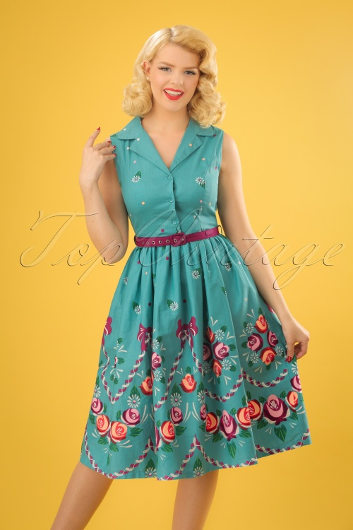 Lindy Bop Matilda Teal Folk Floral Swing Dress 24571 20180102 1W