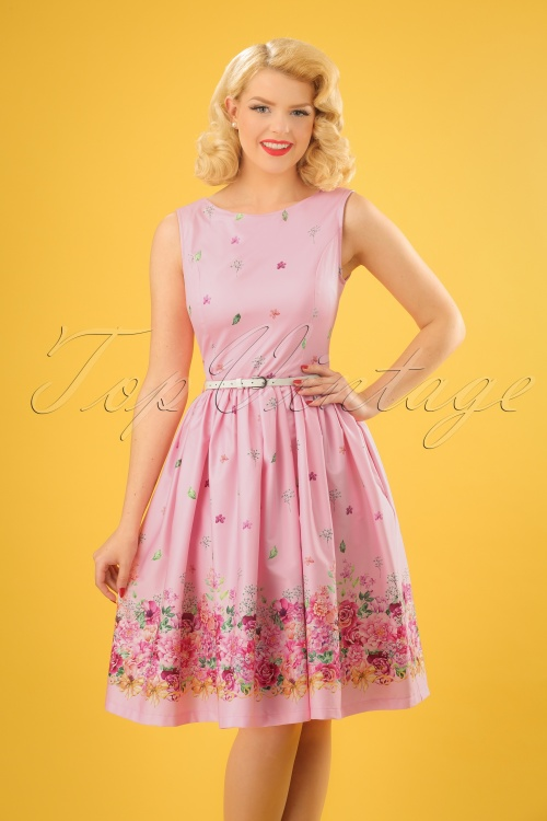 Lindy Bop Audrey Pink Floral Border Swing Dress 24575 20180102 1W