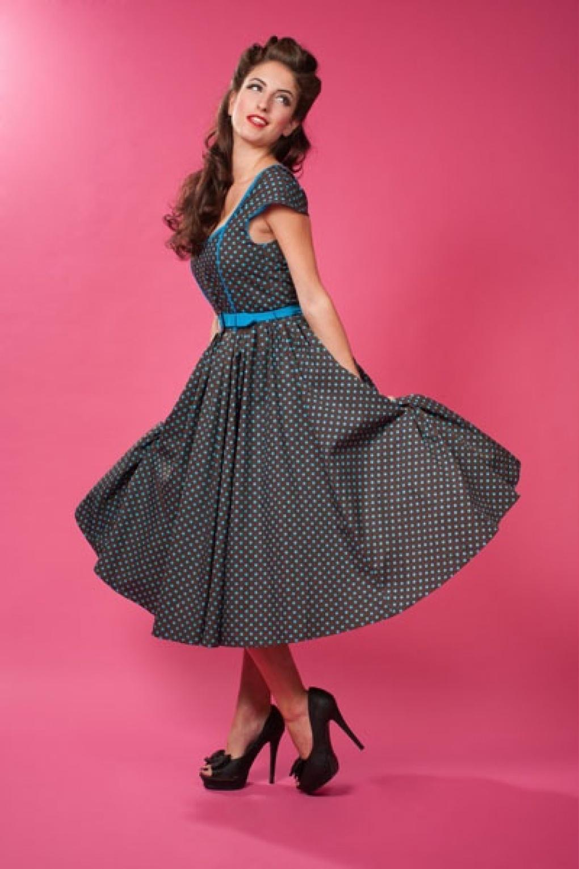Extreem 1950s Debbie Polka Dot black blue swing dress @HM19