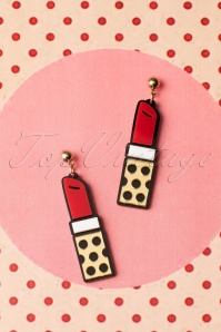 60s Lipstick Love Earrings in Red
