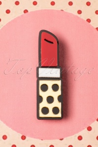 60s Lipstick Love Brooch in Red