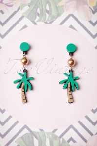 60s Under The Palm Tree Earrings in Green