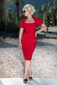 50s Rita Rae Pencil Dress in Red