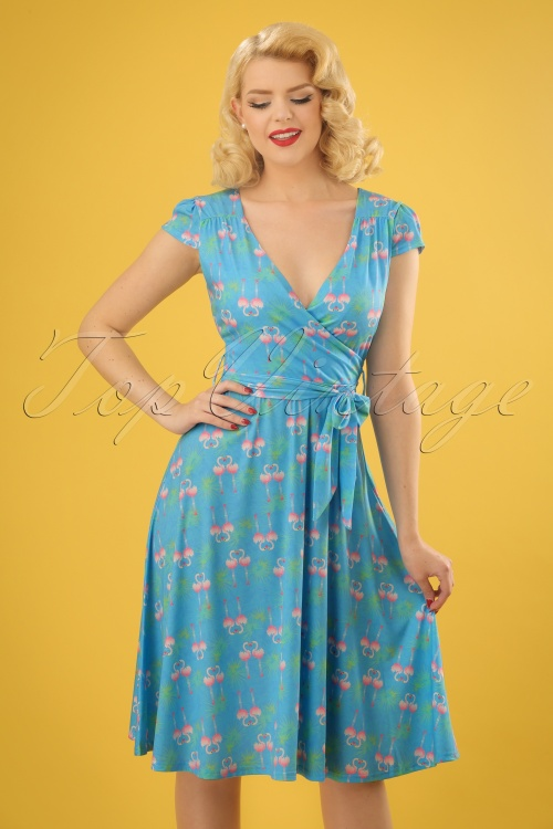 Lindy Bop Dwan Flamingo Leaf Dress in Blue 24566 20180102 0009w