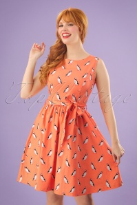 50s Audrina Puffin Swing Dress in Orange