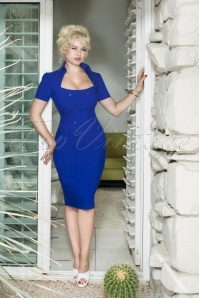 Glamour Bunny Rita Rae Pencil Dress Années 50 en Bleu Royal