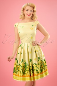 Lindy Bop Christie Lemon Border Swing Dress 24563 20180103 0009w
