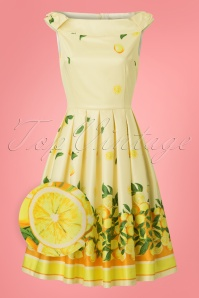 Lindy Bop Christie Lemon Border Swing Dress 24563 20180103 0003wv