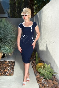 Glamour Bunny Dita Pencil Dress in Navy 23857 20180108 02