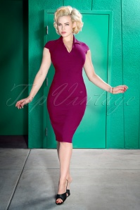 50s Emma Pencil Dress in Berry