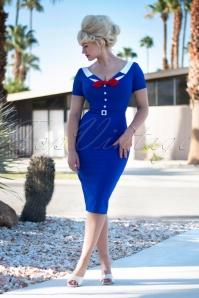 Audrey Pencil Dress Années 50 en Bleu Roi
