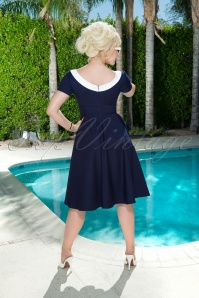 Glamour Bunny Audrey Swing Dress in Navy 23850 20180108 03