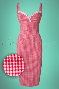 Glamour Bunny Cindy Red Gingham Pencil Dress 23853 5W1