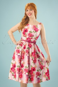 50s Delta Floral Bouquet Swing Dress in Pink