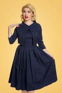 Lindy Bop Marianne Burgundy Swing Dress in Navy 102 31 24770 20171019 00100