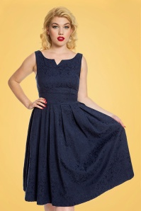 Lindy Bop Marianne Burgundy Swing Dress in Navy 102 31 24770 20171019 0009
