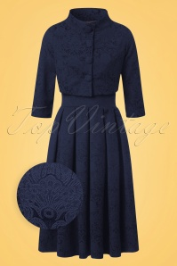 60s Marianne Jacquard Twin Set in Navy