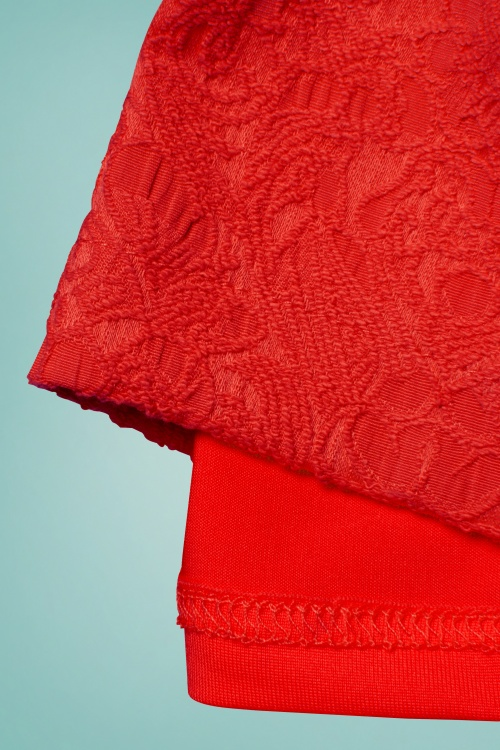 60s Maybelle Jacquard Twin Set in Red
