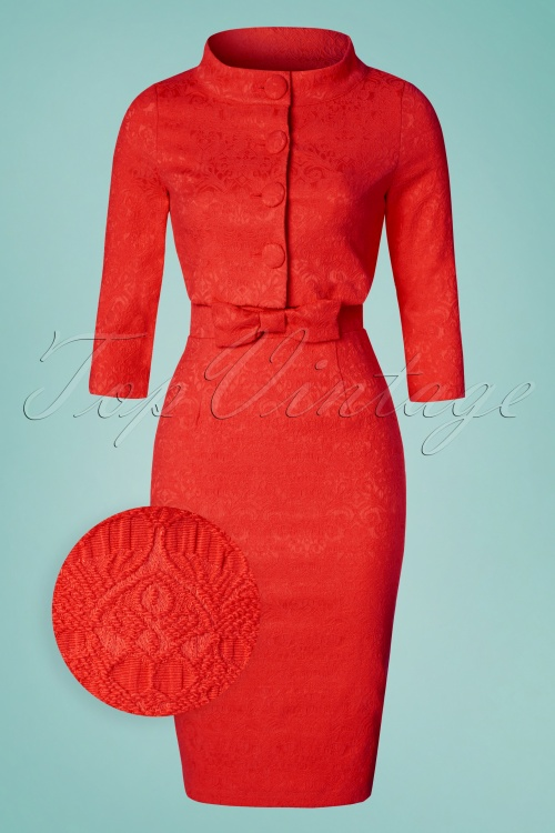 Lindy Bop Maybelle Red Lace Pencil Dress 100 20 24769 20170403 0011wv