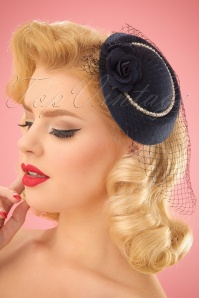 50s Pearl Hat in Navy