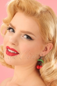 Cherry Drop Earrings Années 50 en Rouge