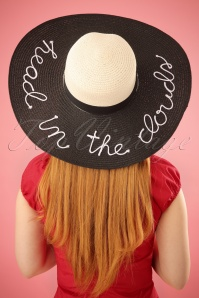 50s Head In The Clouds Sun Hat in Black