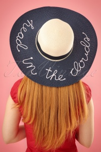 50s Head In The Clouds Sun Hat in Navy