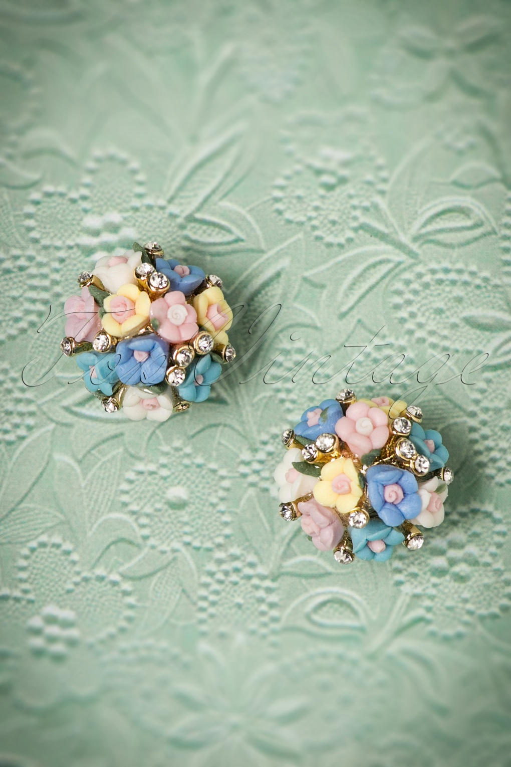 50s Jewelry: Earrings, Necklace, Brooch, Bracelet 50s Posy Bouquet Earstuds in Blue £13.15 AT vintagedancer.com