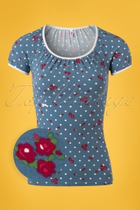 60s Roaring Romance Tee in Mary Rose Blue