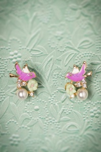 50s Enchanted Bird Earstuds in Lila