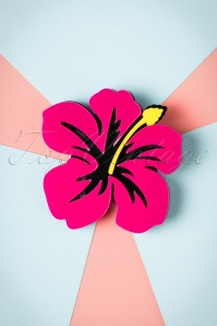 50s Tropical Hibiscus Brooch in Pink