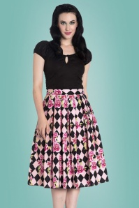 King Louie Harlequin 50s Black and Pink Skirt 122 29 24085 20180213 1
