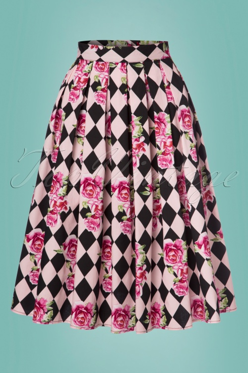 King Louie Harlequin 50s Black and Pink Skirt 122 29 24085 20180213 0001W