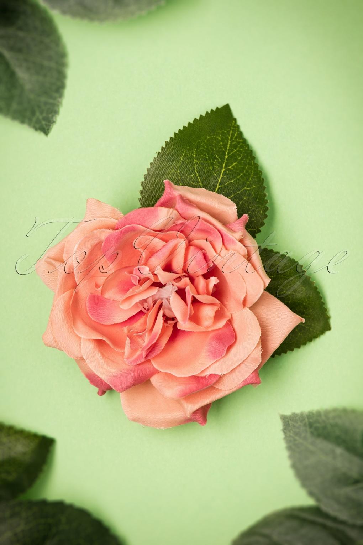 1940s Style Hats 50s Garden Rose Hair Clip in Vintage Pink �10.56 AT vintagedancer.com