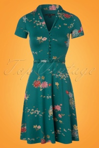 King Louie Lapis Blue Teal Floral Dress 102 39 23188 20180213 0004W