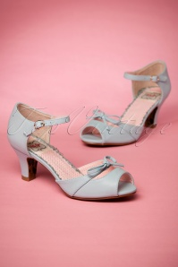 50s Tegan Peeptoe Pumps in Pastel Blue