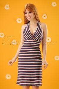 60s Skipper Stripe T Back Dress in Royal Blue