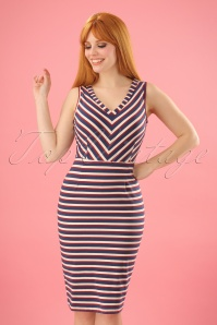 60s Lotta Skipper Stripe Dress in Royal Blue