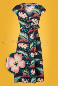 King Louie Floral Lot Dress Midi in Blue 108 39 23194 20180213 0001wv