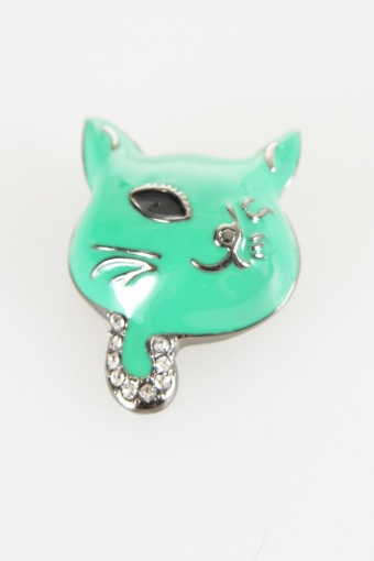 green cat brooch big