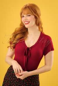 60s Goldie Bow Top in Ruby Red