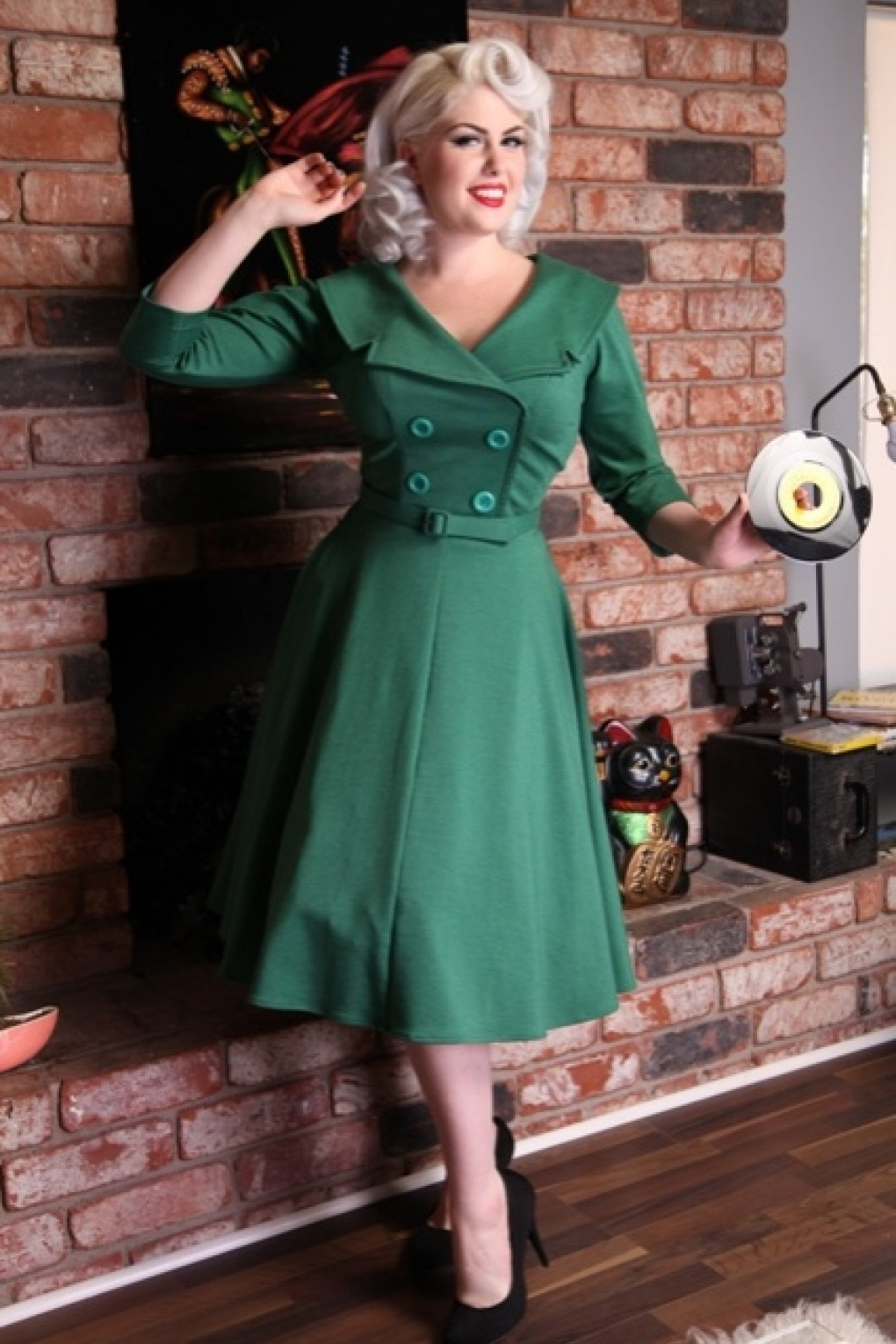 secretary 50s circle dress green. Black Bedroom Furniture Sets. Home Design Ideas