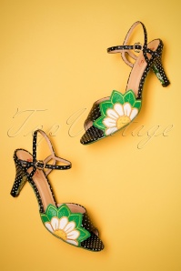 60s Crazy Daisy Peeptoe Sandals in Black