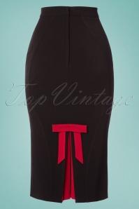 TopVintage Exclusive ~ Frances Bow Pencil Skirt Années 50 en Noir et Rouge