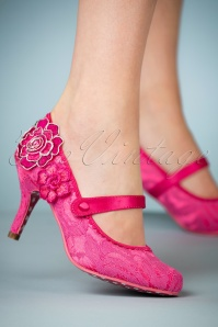 50s Pink Passion Mary Jane Pumps in Cerise