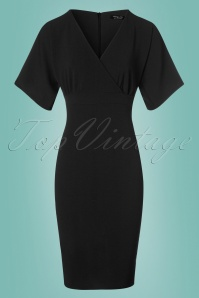 Vintage Chic Cross Bust Crepe Pencil Dress in Black 100 10 24519 20180216 0015w